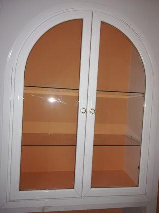 puertas de vitrina aluminio blanco y cristal