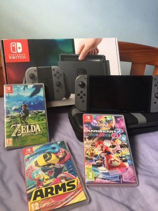 Nintendo Switch, 3 juegos y carcasa