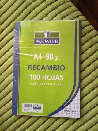 Recambio de hojas A4 marca PREMIER 100 hojas
