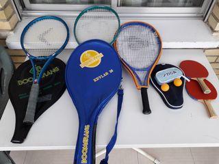 raquetas de tenis y pinpon.el lote.