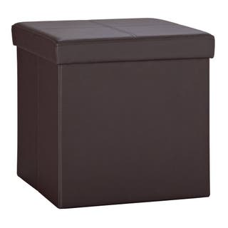 Small Faux Leather Stitched Ottoman - Brown