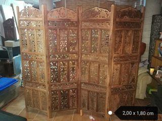 biombo de madera maciza tallado