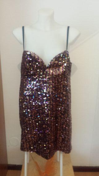 Vestido Zara lentejuelas Multicolor Nuevo Talla XL