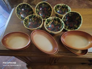 6 fuentes individuales de barro para horno,sin usa