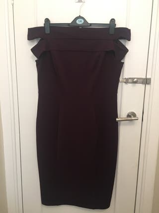 Per Una Bardot style plum dress