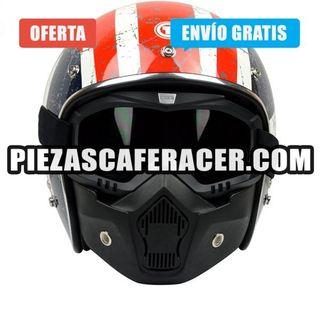 Máscara moto Para Casco Abierto Clásico + Gafas Mo