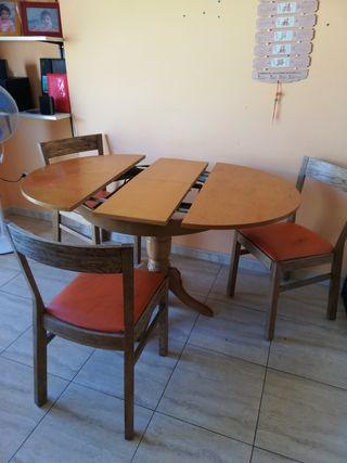 mesa desplegable de 3 sillas