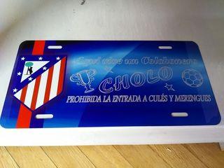 Placa chapa matrícula fútbol AT.Madrid. Cholo