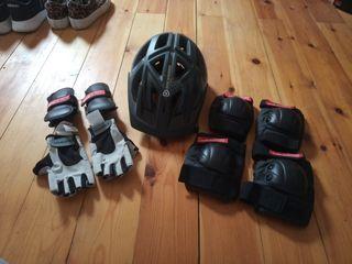 casco, rodilleras y protecciones niño