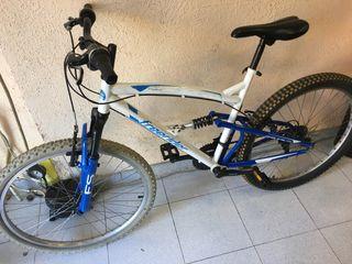 Bici montaña doble suspensión blanco azul rueda 26