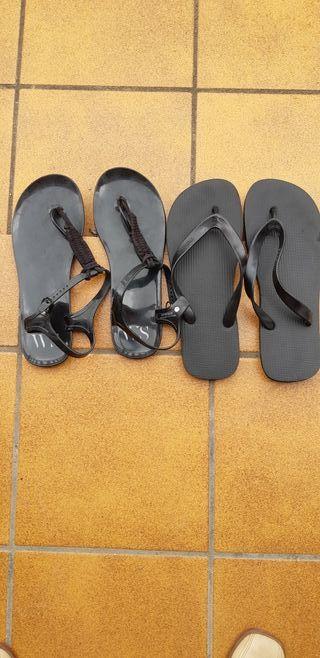dos pares de zapatillas n-40