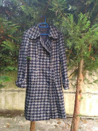 Abrigo Mango,talla L,40,azul marino y gris