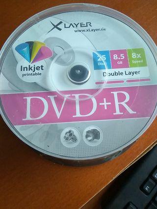 Tarrina 25 DVD doble capa imprimible.