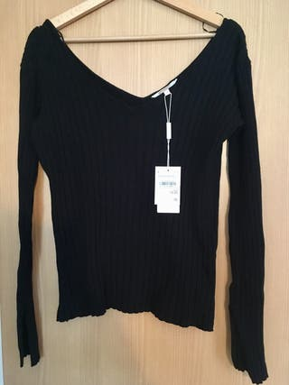 Jersey escote de pico negro Talla L