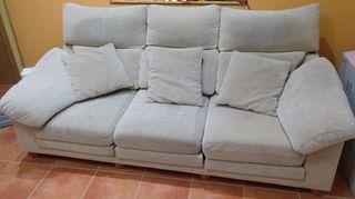 sofá 3 plazas abatibles con puff cheslong móvil a