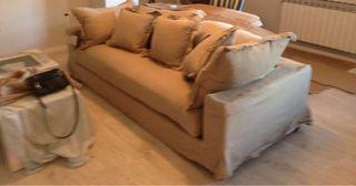 Sofa de 3 plazas de lino lavado color hilo