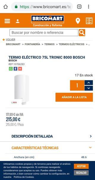 chollo! TERMO ELÉCTRICO 75L TRONIC 8000 BOSCH