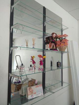 espejos y baldas de cristal