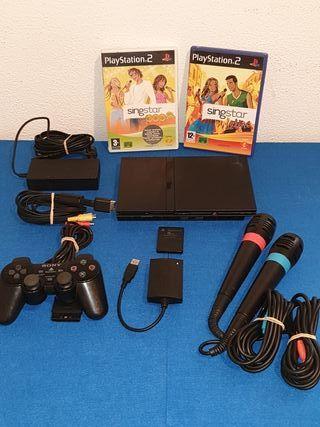 Consola Ps2 Slim + 2 microfonos + 2 juegos karaoke