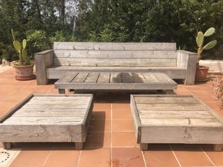 Wooden bank/ sofa with table and two chairs