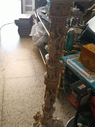 antiguo pedestal columna tallado chino de firma