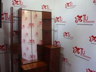 Mueble entrada con zapatero y espejo 130 cm