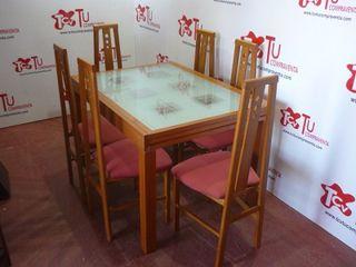 Mesa salon comedor extensible con 6 sillas granate