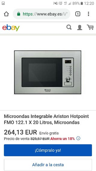 Microondas encastrable hotpoint-ariston fmo 122.1