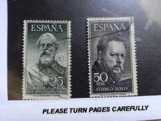 Lote de dos sellos Correo Aéreo. España 25 y 50 p