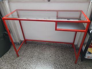 Mesa metálica con cristal