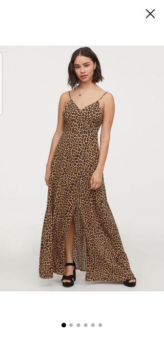 Vestido largo escote V H&M