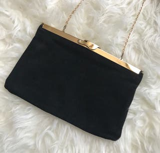 Bolso clutch vintage piel negro cadena oro