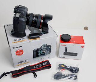 Canon 6D + 24-105L + grip + mochila Lowepro