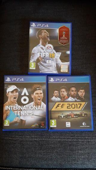3 juegos FIFA 18+F1 17+ Y AO TENNIS PS4
