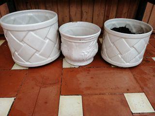 macetas ceramica blanca