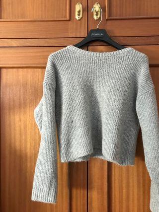 Suéter gris punto stradivarius talla s
