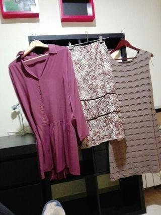 2 vestidos y una falda larga