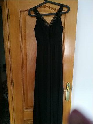 vestido de gasa negro largo