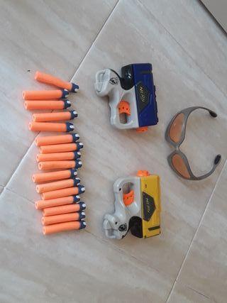 Nerf pack 2 Reflex IX-1 + dardos dart tag+ gafas