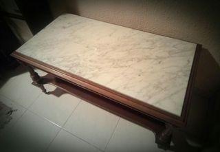 Mesa centro madera y mármol