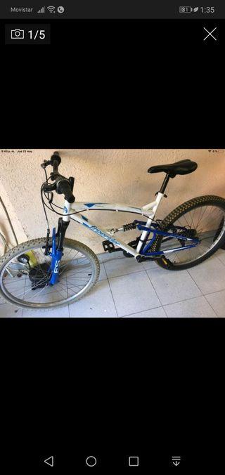 "Bici mountain bike doble rueda 26"" azul y blanco"