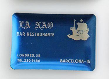 Cenicero vintage de aluminio, La Nau, azul oscuro