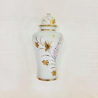 JARRON Porcelana Y Oro De Ley