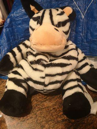mochila zebra peluche 35cm