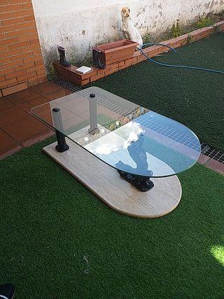 Mesa de centro de salón (cristal y mármol)