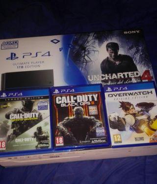 PS4 1T + 4 juegos + mando