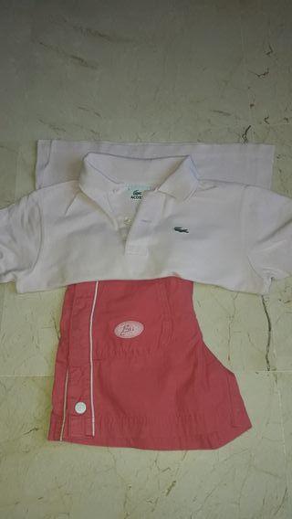 Polo Lacoste rosa y pantalón corto de talla 8, 3€