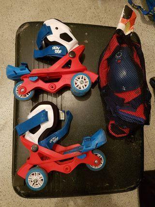patines adaptables y protecciones