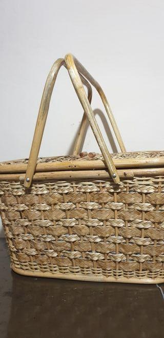 cesta de mimbre camping y accesorios