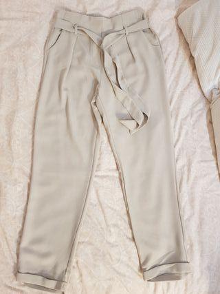 Pantalones sueltos gris claro S